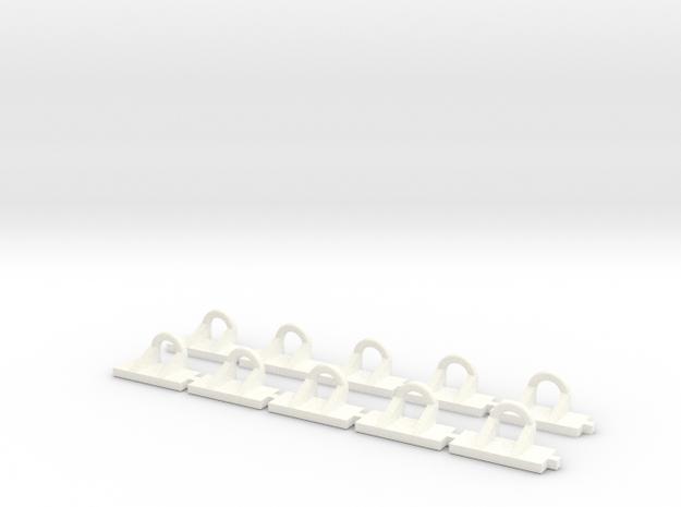 Hackenoese für Abrollbehälter 10Stück in White Strong & Flexible Polished
