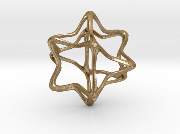Cube Octahedron Curvy Pinch - 5cm in Polished Gold Steel