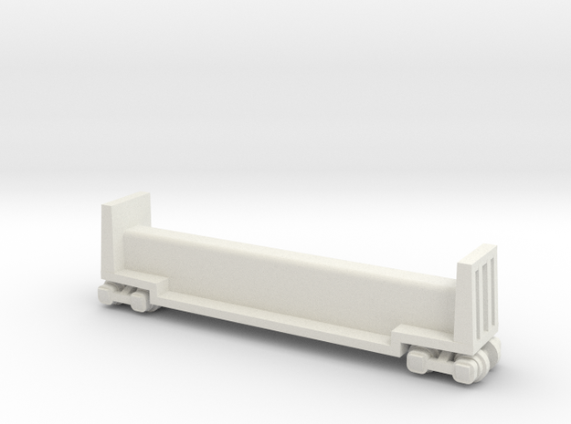 "7.5"" Passenger Riding Car W/Trucks - HO Scale (1/8 in White Natural Versatile Plastic"