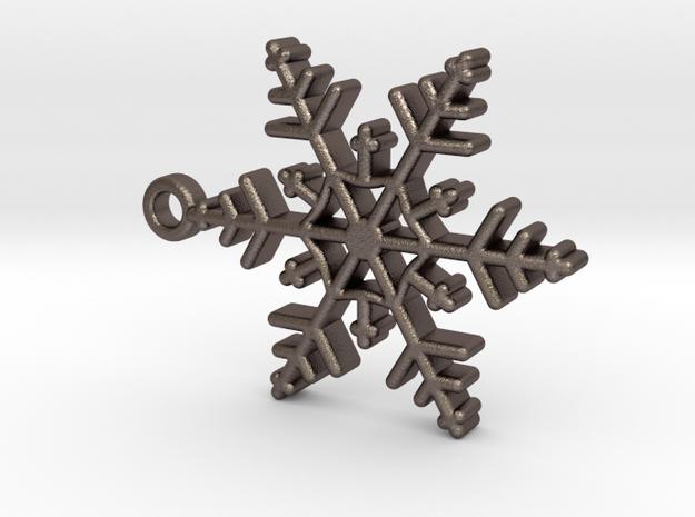 Schneeflocke mit Öse in Polished Bronzed Silver Steel