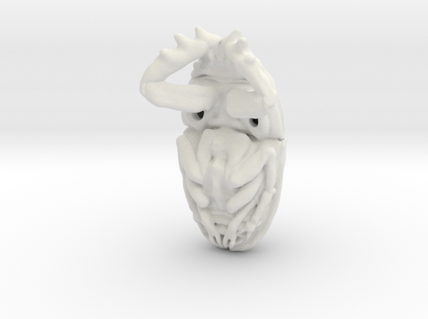 Scarab Beetle - Pendant 3.8 - style 4 in White Natural Versatile Plastic