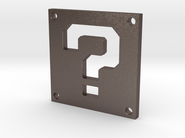 Question Block in Polished Bronzed Silver Steel