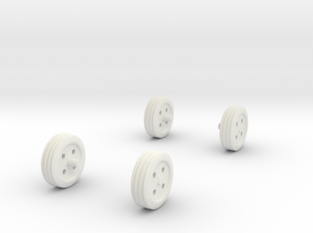 1/32 Scale Wheels, Tool Box in White Natural Versatile Plastic