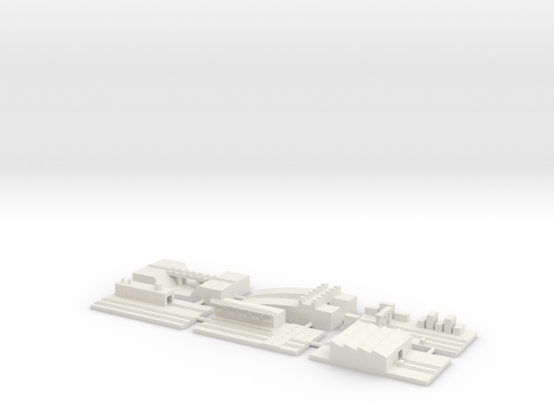 "1"" Building Set 5 - Railway in White Natural Versatile Plastic"
