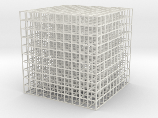 Mesh Cube100mm in White Strong & Flexible