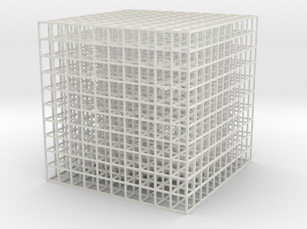 Mesh Cube100mm in White Natural Versatile Plastic