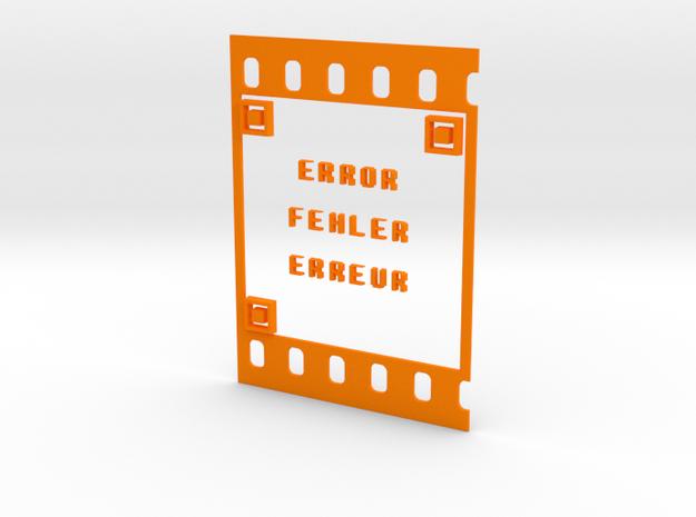 FILM ERROR FEHLER ERREUR in Orange Processed Versatile Plastic