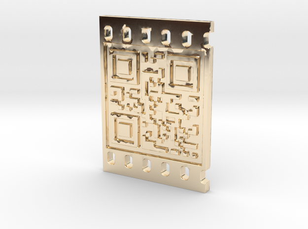 OCCUPY NEW YORK QR CODE 3D 30mm in 14K Yellow Gold