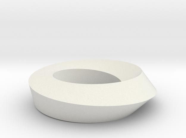 Mobius Loop - Square 1/4 twist in White Natural Versatile Plastic