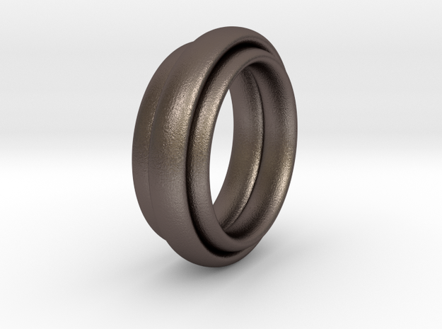 TriBundle Ring-Size9 in Polished Bronzed Silver Steel