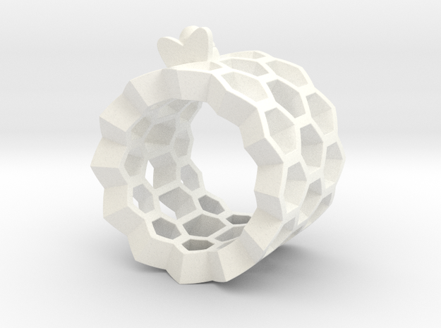 Little Bee in Honeycomb Ring in White Processed Versatile Plastic