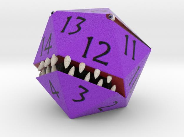 D20 Purple Monster Figurine in Full Color Sandstone