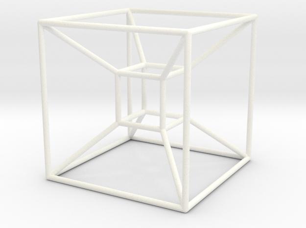 Tesseract (Hypercube) in White Processed Versatile Plastic