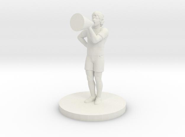 Male Cheerleader in White Natural Versatile Plastic