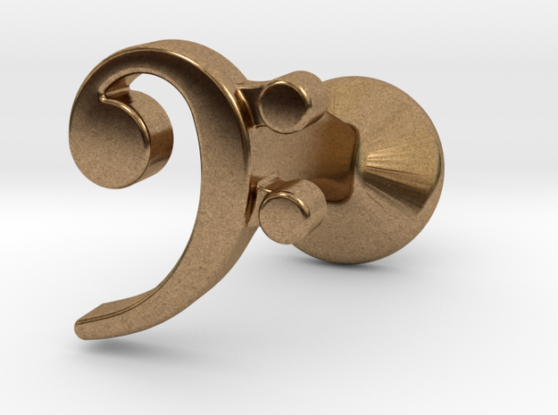Bass Clef Cufflink (single) 3d printed