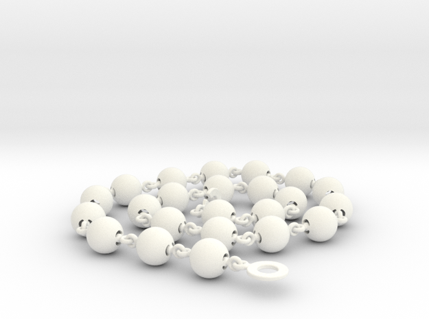Smooth Ball Necklace - 56cm in White Processed Versatile Plastic