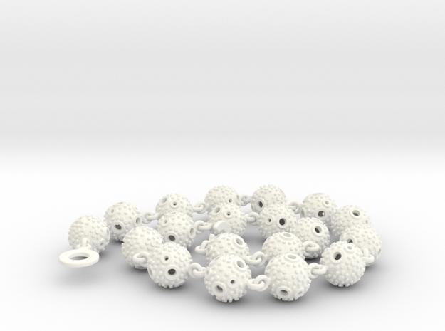 Textured Ball Necklace - 46cm in White Processed Versatile Plastic