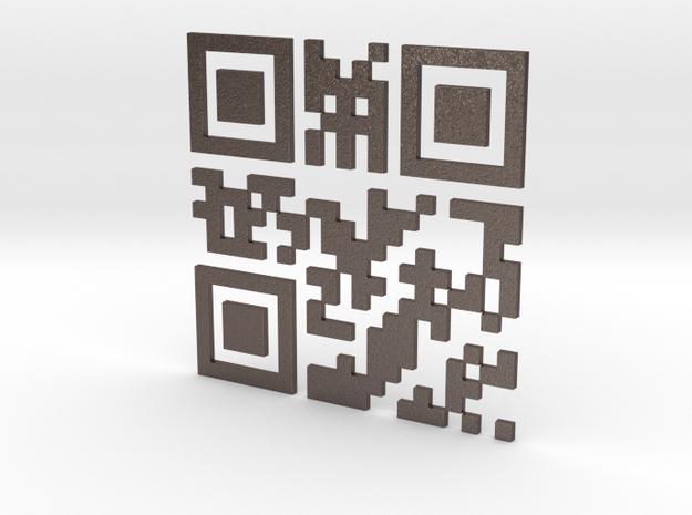 Wien Vienna 3D QR Code Puzzle 120mm in Polished Bronzed Silver Steel