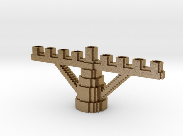 Minecraft Menora in Polished Gold Steel