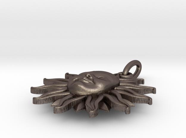 Sun pendant in Polished Bronzed Silver Steel