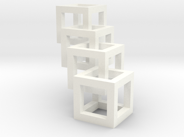 interlocked cubes in White Strong & Flexible Polished