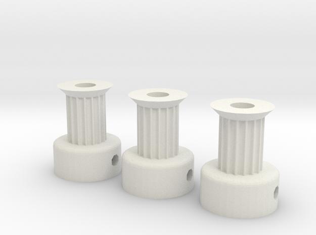 RepRap GT2 16t Pulleys in White Natural Versatile Plastic