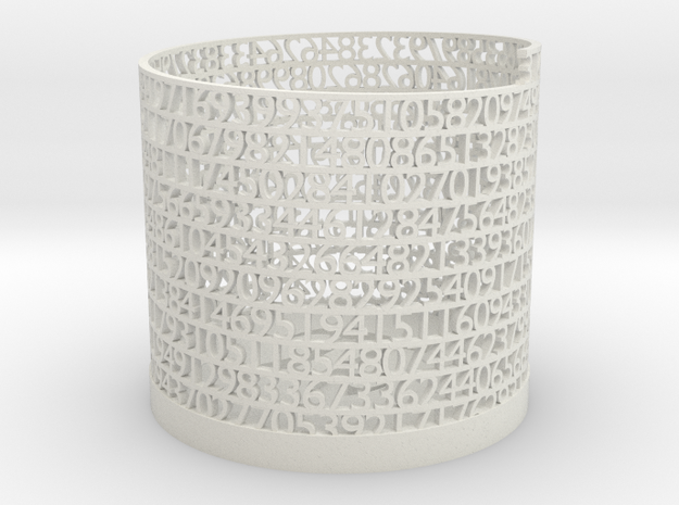 Tower of Pi - Penholder in White Natural Versatile Plastic