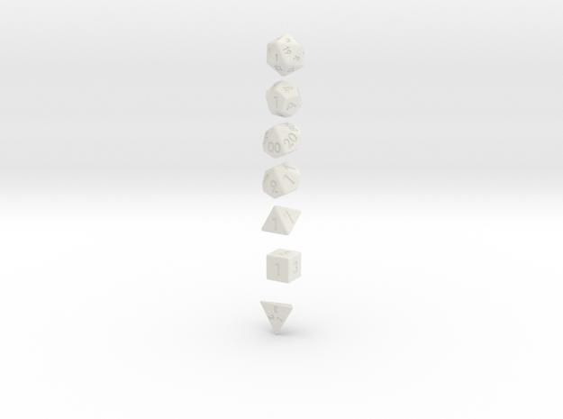 7-Dice Set (d4, d6, d8, d10, d12, d20, d10 Percent 3d printed