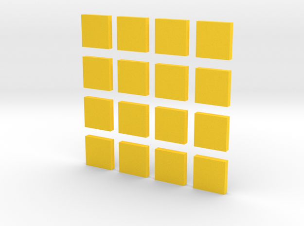 DIY 2048 Coaster Set (Yellow Pieces) in Yellow Strong & Flexible Polished