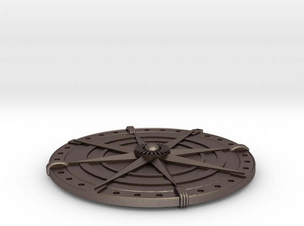 Compass Medallion in Polished Bronzed Silver Steel