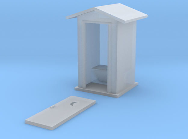 S-Scale Peaked Roof Outhouse 3d printed