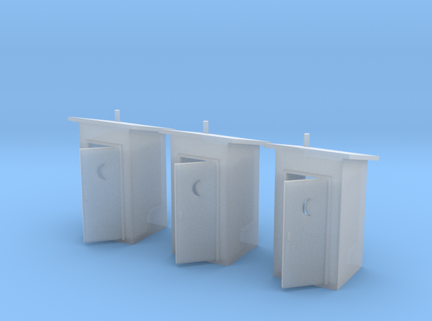 HO-Scale Slant Roof Outhouse (3-Pack) in Smooth Fine Detail Plastic