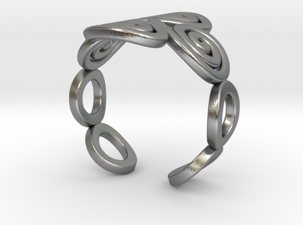 4 Spirals & Ovals Ring (Size 17) in Natural Silver