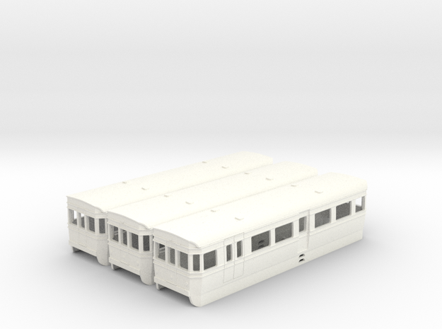 (UNTESTED) BUT/ACV railbus set in 4mm scale in White Strong & Flexible Polished
