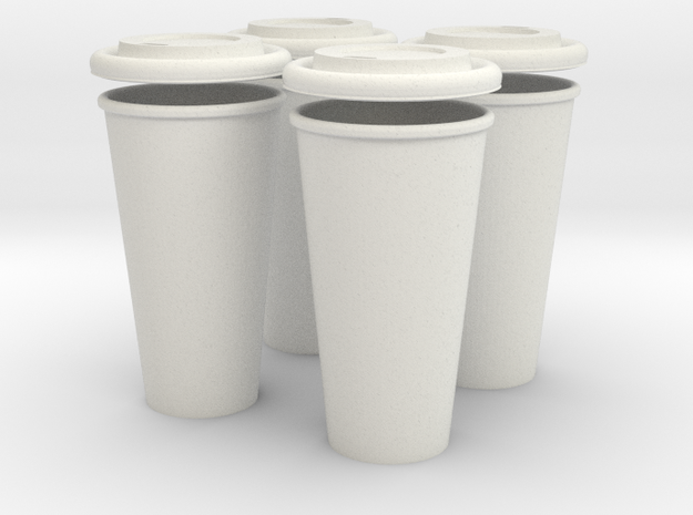 BJD Doll Coffee House Cup and Lid - Set of 4 3d printed