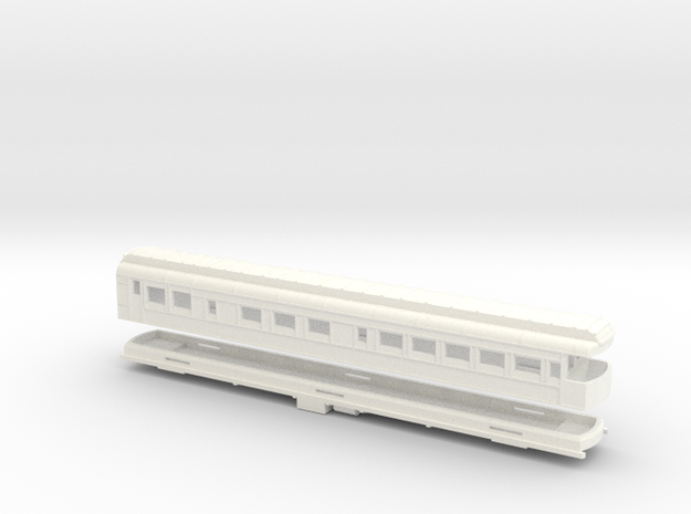 Z Scale Pullman Heavyweight Observation Car in White Processed Versatile Plastic