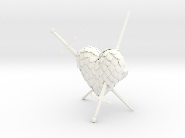 Defeated Heart in White Strong & Flexible Polished