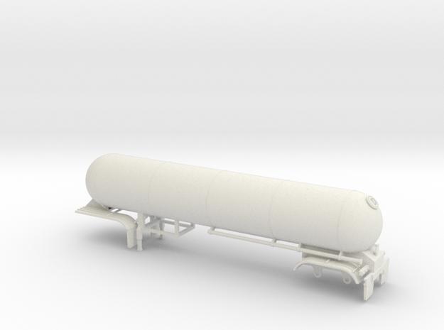 S-scale 1/64 Trailer 15, Twin Axle LPG in White Natural Versatile Plastic