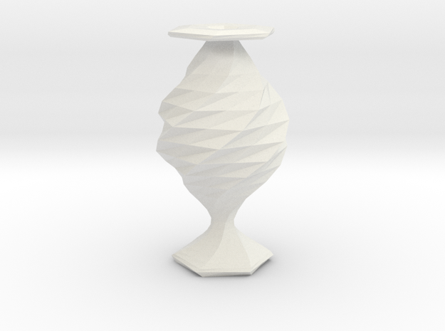 twisted babel fish flower  vase in White Natural Versatile Plastic