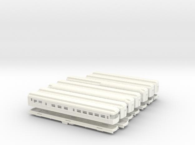 Z Scale Pullman Hvywt Passenger Cars-Complete Set in White Processed Versatile Plastic