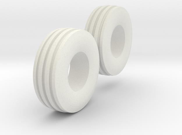 1:64 scale 11L-15 4 Rib Tires  in White Natural Versatile Plastic
