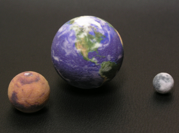 "Earth Moon Mars to scale. 50mm / 2"" globe in Full Color Sandstone"