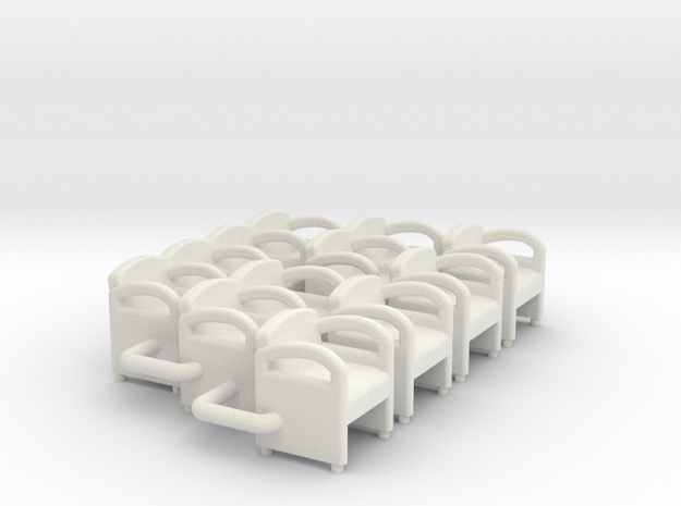 Waiting Room Chairs HO Scale in White Strong & Flexible