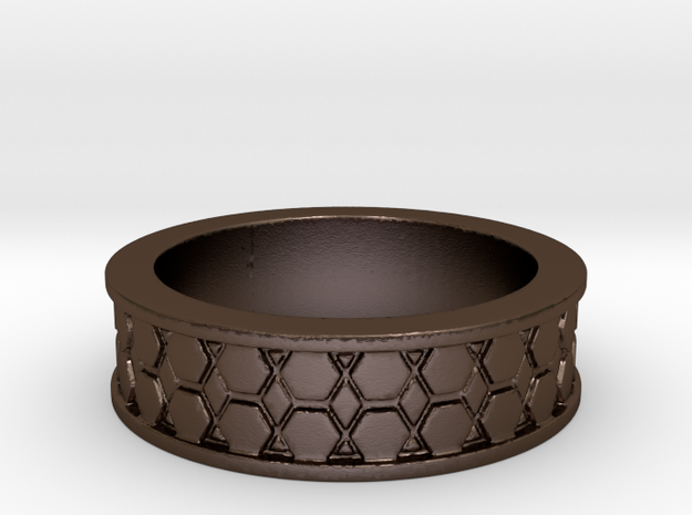 Hexagon Band Ring Size 9 3d printed