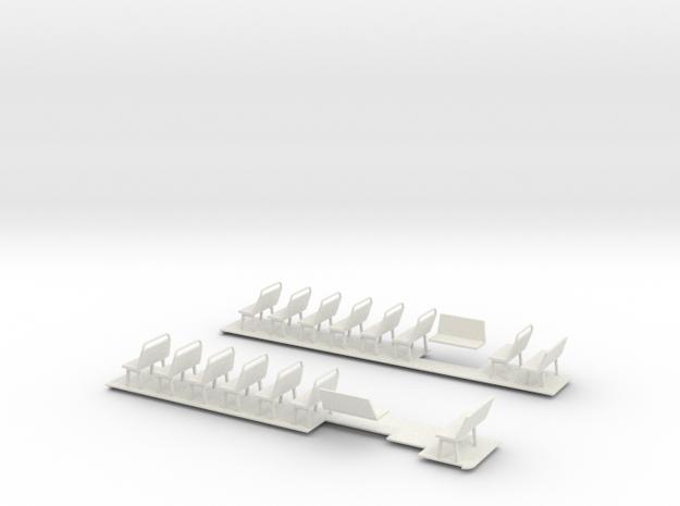 1:43 Bristol Bus Floor & Seats in White Natural Versatile Plastic