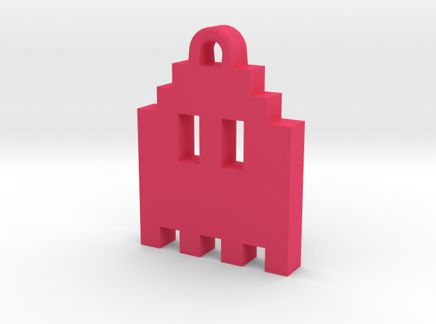 Pac Man Ghost 8-bit Earring 1 (looks up | moving) in Pink Processed Versatile Plastic