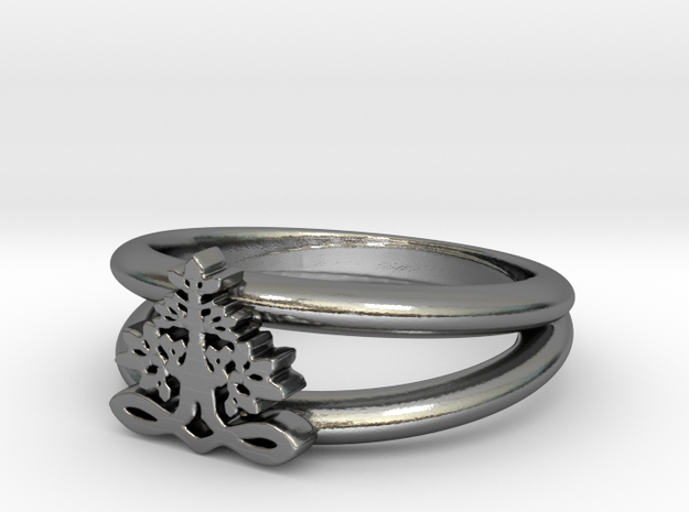 Tree of Life Ring in Polished Silver