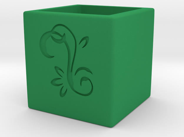 Mini cubed (Floral Patterned) Planter 1 3d printed