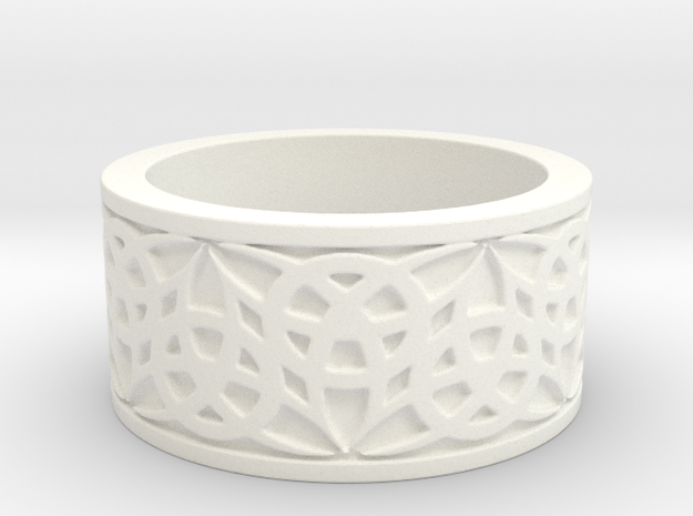"""""""Eternal Triquetra"""" Ring Size 8 in White Processed Versatile Plastic"""