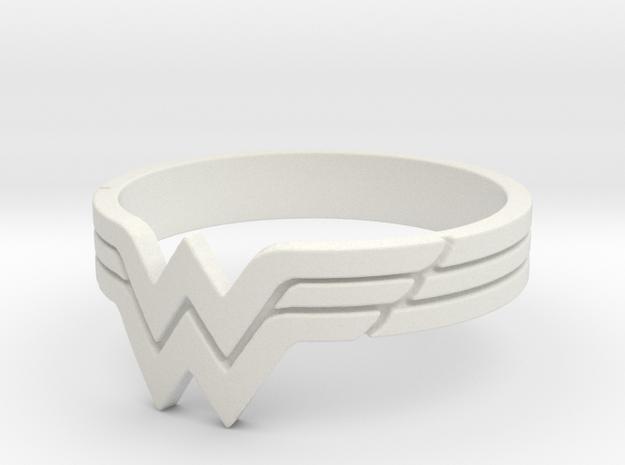 Wonder Woman Ring, Size 7 in White Natural Versatile Plastic